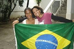 Girls with brazilian flag