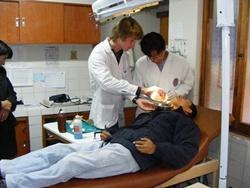 Volunteer with pacient