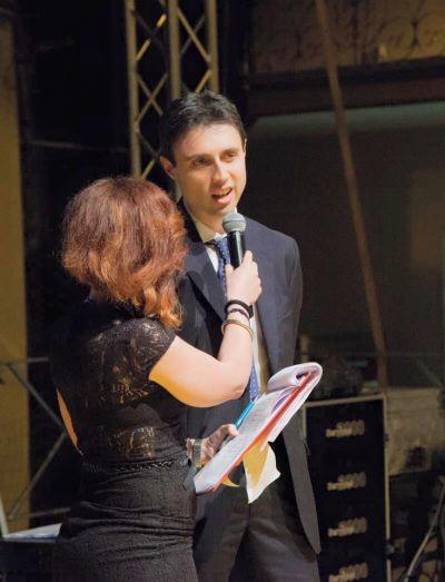 Andrea durante la premiazione