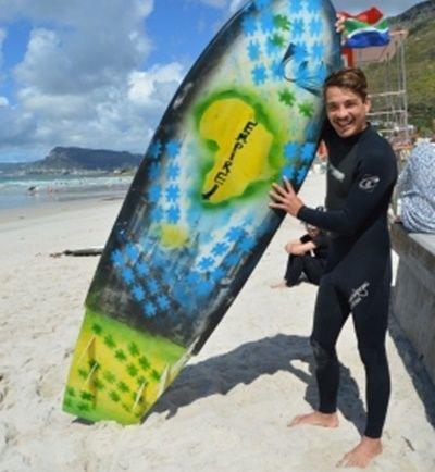 南アフリカサーフィンプロジェクトマネージャーChrisjanと Ashtanさんのために作られたオリジナルサーフボード