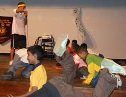 Kids practise the moves