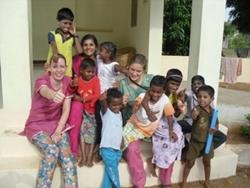 Volunteers with children