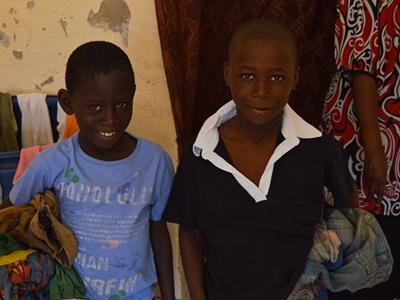 Talibe boys after receiving new clothes from Projects Abroad in Saint Louis, Senegal