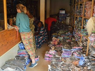Projects Abroad volunteers and project staff shop for new shoes for talibe children in Senegal