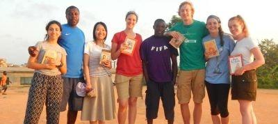 Volunteers in Ghana during 'Football Pitch Reading'