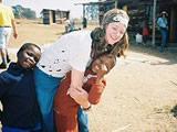 Volunteer and the kids