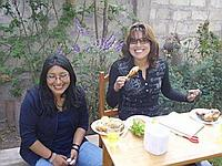 Staff, Yessika and Irazema enjoying the BBQ