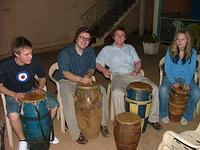 Volunteers drumming