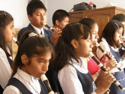 Children playing the recorder