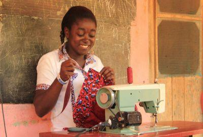 Victoria Oduro, a tailor in Ghana, makes clothing locally for the European and USA markets.