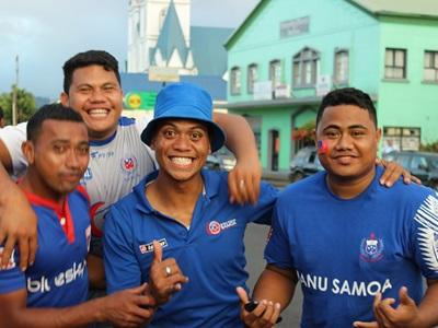 Samoan fans celebrate at the All Blacks vs Manu Samoa rugby Test match in Apia Park, Samoa