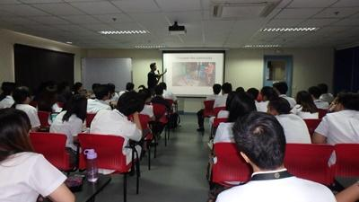 Physical Therapy intern Victor Lee speaks at the National Disability Prevention and Rehabilitation Week in the Philippines
