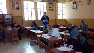 Volunteers working during the annual Teacher Training project in Peru