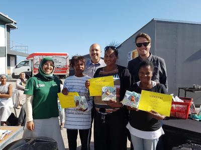 Local staff winners of a cooking competition during the Nutrition Project in South Africa