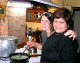 Freiwillige mit Gastmutter