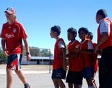 Freiwilliger beim Sport