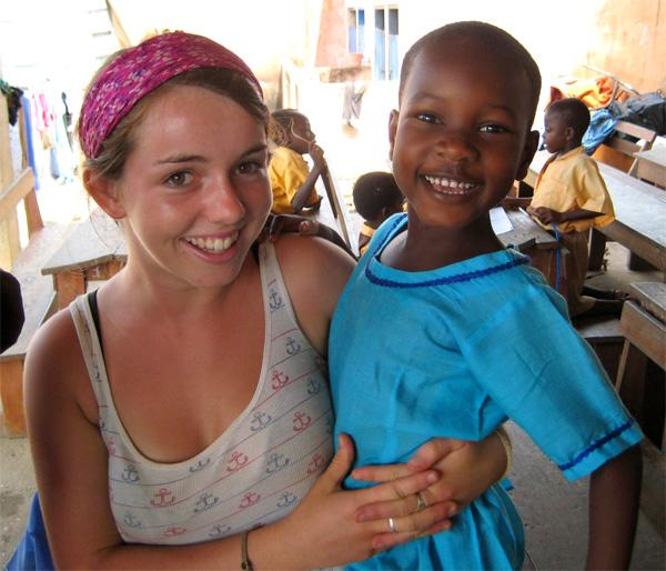 Freiwillige mit Kind