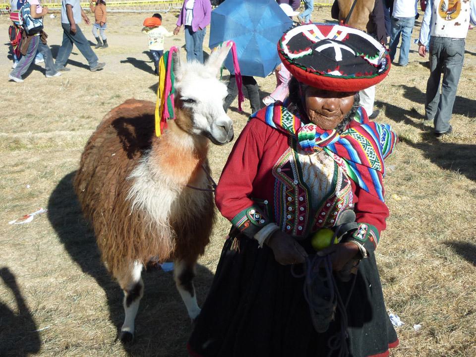 Lokal beboer i Peru og hendes Lama