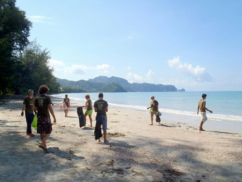 Volunteers during a beach cleaning activity in Thailand