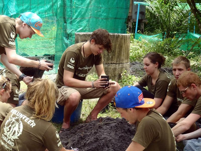 Volunteers in a conservation placement