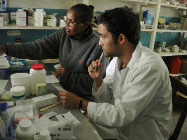 Volunteer learning about medicine