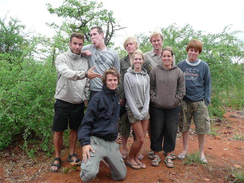 Groupe de volontaires au Botswana/Afrique du Sud sur une mission d'écovolontariat