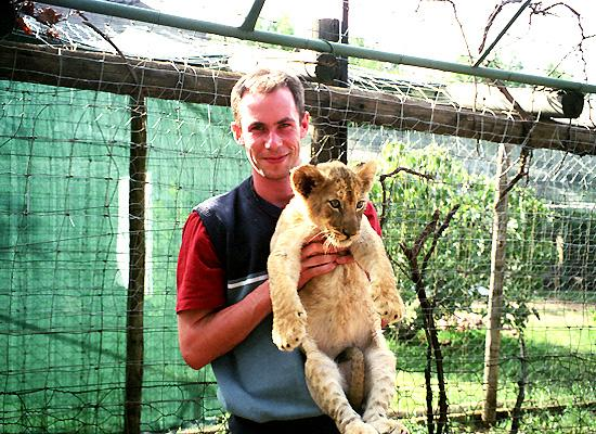 Greg with lion
