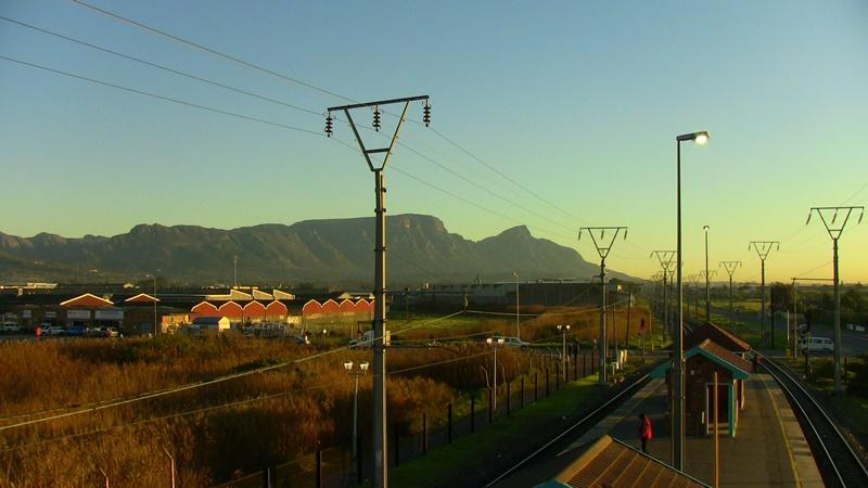 Train station with Table Mountain for the background in Cape Town