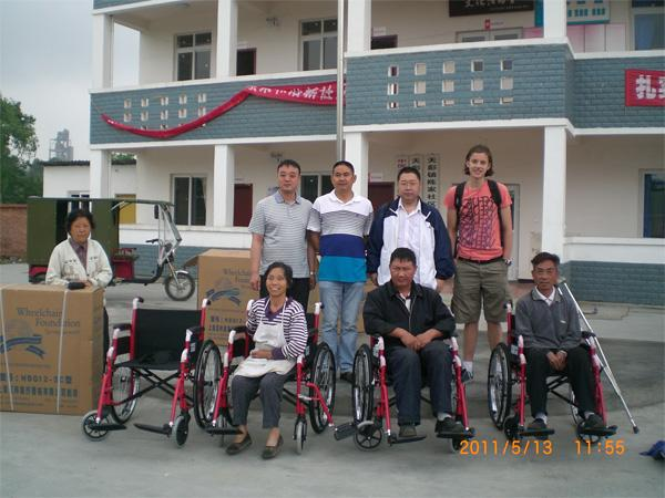 Care volunteers at disabled centre