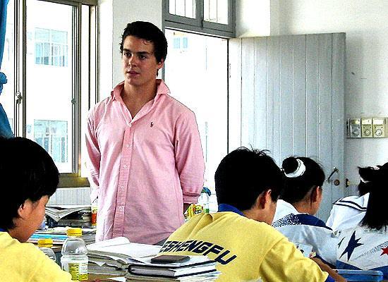Volunteer teaching at class