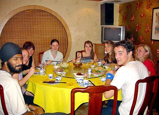 Volunteers eating dinner
