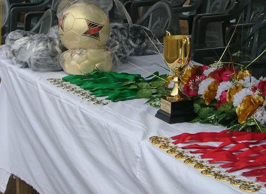 Cup and medals displayed
