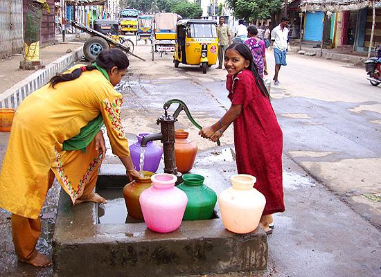 Locals takeing water