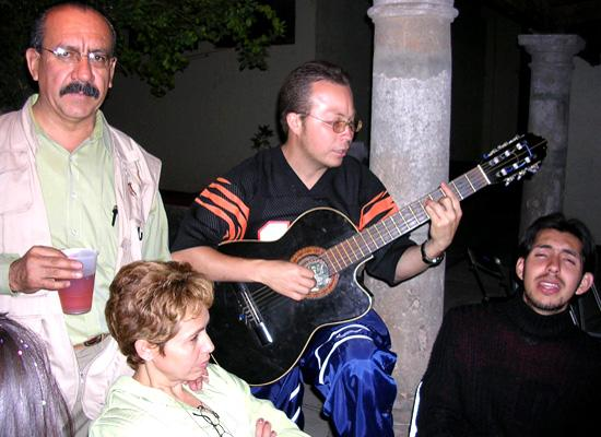 Locals playing at guitar