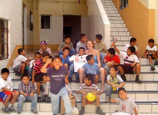 Volunteer and boys