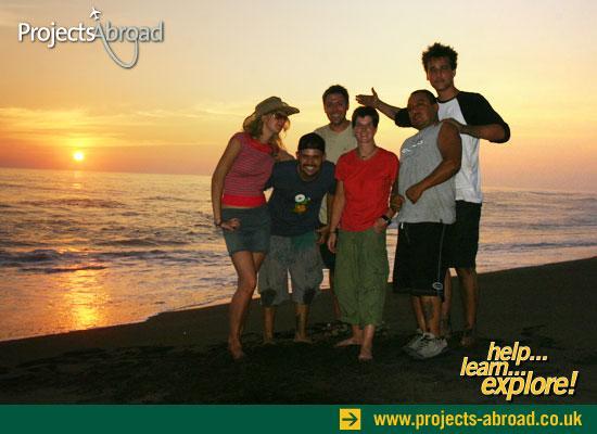Volunteers sunset Tecoman