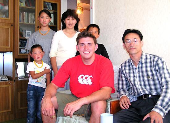 Luke and host family