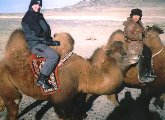 Matthew riding camel
