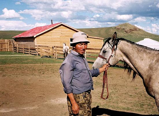 Mongolian with horse