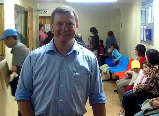 Simon Brittens in hospital