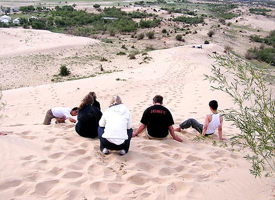 Volunteers group on sand dune