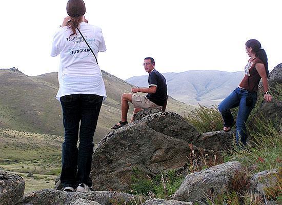 Volunteers in mountains