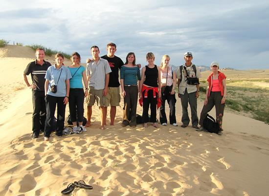 Volunteers on sand dune