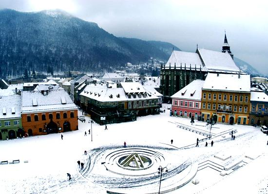 Brasov in the snow