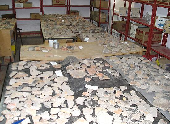 Inside of a pottery reconstruction room