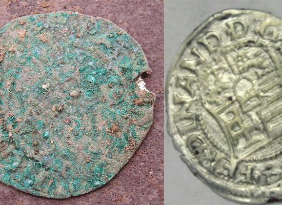 Silver coin before and after the restauration