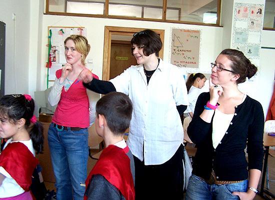 Volunteers and local teacher