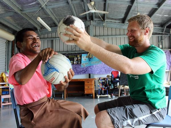 A Physical Therapy intern conducts a therapy session for a Samoan patient