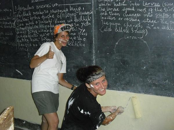 Des volontaires rénovent les murs d'une école en Tanzanie