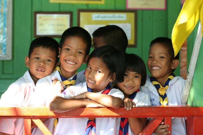 Un groupe d'élèves en action